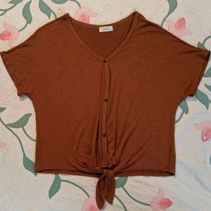 Pinc Button With Knot Tie Top